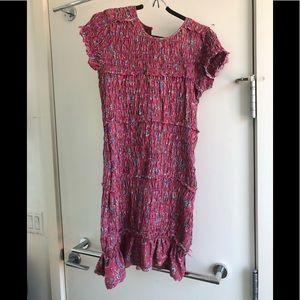 Size medium Free People ruched pink floral dress